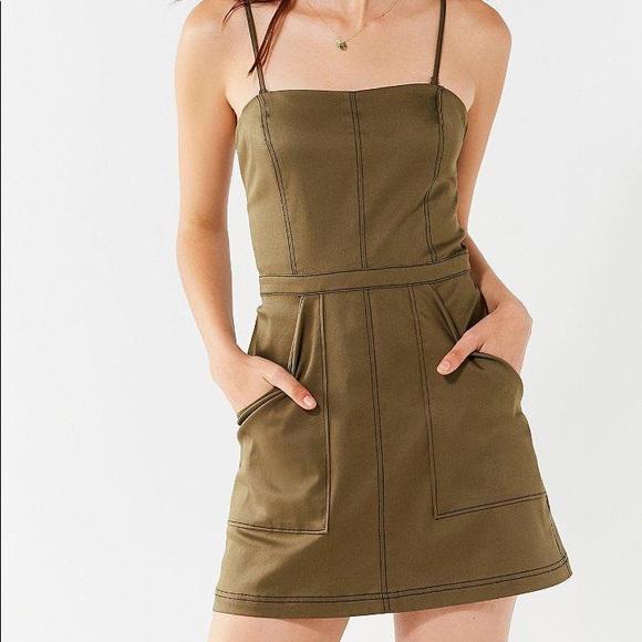UO Devon Fit + Flare contrast stitch dress